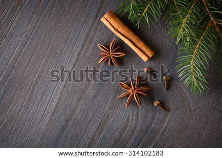 Cinnamon sticks, star aniseand  fir tree branches