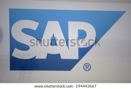 "CIRCA APRIL 2014 - BERLIN: the logo of the brand ""SAP"", Berlin."