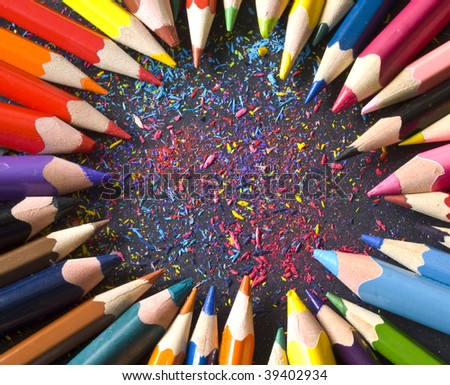 circle made of color pencils