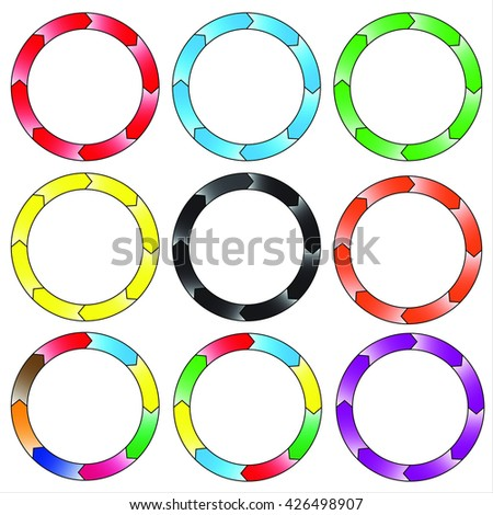 Circle, ring gradient. Set of 9 colorful circles. Eight connection. Rasterized versions.  Set-1
