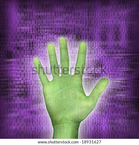 circuitboard hand over purple background with binarycode