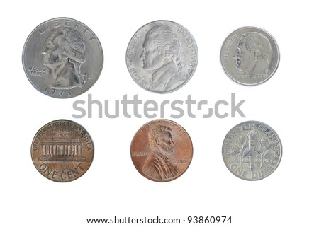 Circulated US Coins Isolated on White