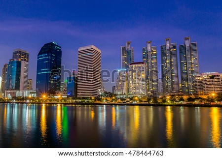 City Landscape from Benjakitti Park, Bangkok at Night