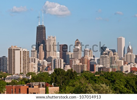 City of Chicago. Image of the Chicago downtown district at late afternoon.