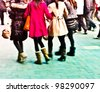city people crowd abstract background blur action - stock photo