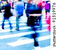 city people crowd on zebra crossing street - stock photo