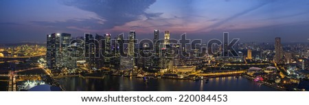 City scape of Singapore at night Panorama view from above