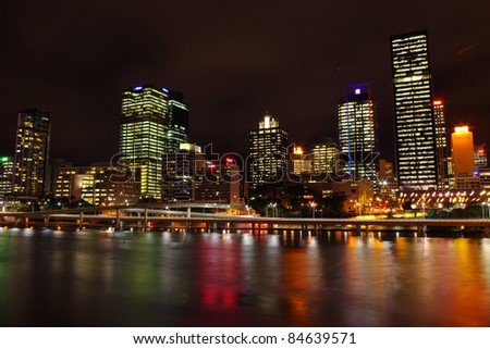 city skyline of Brisbane central business district from the south bank of Brisbane river at night