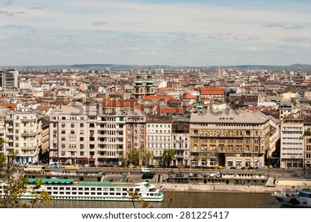 Cityscape of Budapest in warm sunlight. Tourist destination sight. Beautiful photography of the european city.