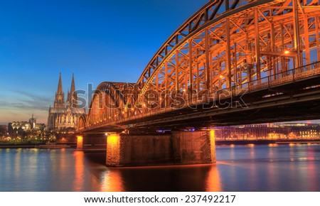 Cityscape of Cologne from the Rhine river with blue sky at sunset