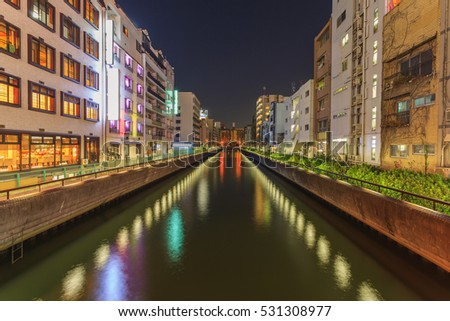 Cityscape of Dotonbori canel shopping area at night, Osaka, Japan
