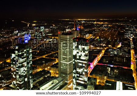Cityscape of Frankfurt at night, Hessen, Germany