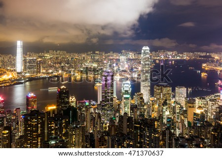Cityscape of Hong Kong Island at night from Victoria Peak.