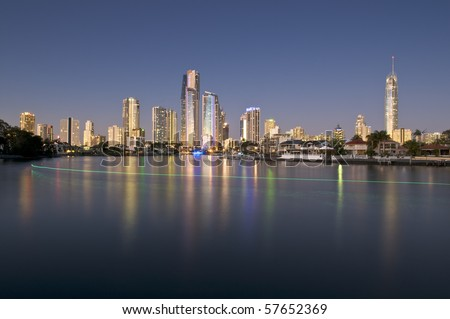 Cityscape of the Gold Coast at dusk.