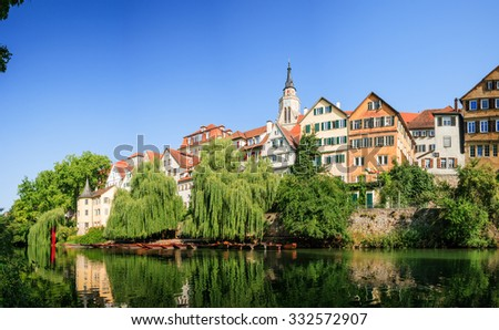cityscape of Tuebingen during a nice summer day