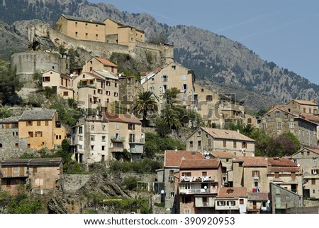 Cityscape with Ville Haute and citadel in Corte, Corsica, France
