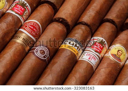 Ciudad de Mexico, Mexico - August 1, 2015: Cuban Cigars.  All cigar production in Cuba is controlled by the Cuban government, and each brand may be rolled in several different factories in Cuba.