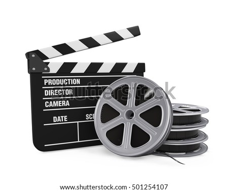Clapper Board and Film Reel. 3D rendering