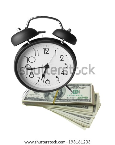 Classic alarm clock and dollar bills, time and money, concepts and ideas