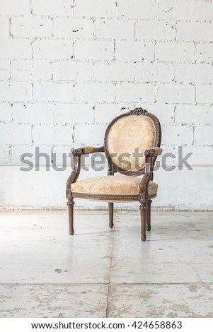 classic chair style in vintage room with white wall