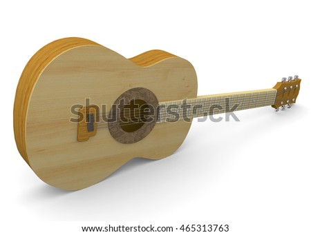 Classic Guitar on White Background - 3D