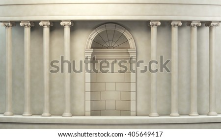 Classic Pillars Background 3d rendering