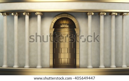 Classic Pillars Background With Gold Elements 3d rendering