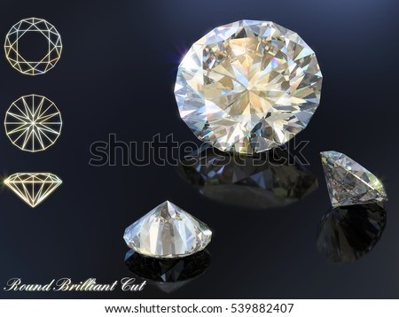 Classic round brilliant cut diamonds with reflection and diagram, on dark blue background. Photo-realistic 3d computer-generated image