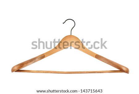 Classic wooden coat hanger isolated over white background, front view