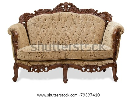 Old Chair Wood Isolated Clipping Path Stock Photo