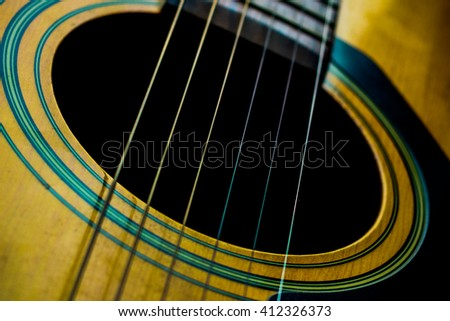 Classical guitar five lines blurred background