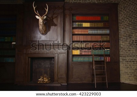 Classical library room with old books on shelves in the victorian style