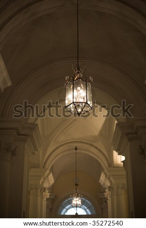 Classical palace interior with  beautiful lamps.