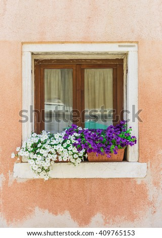 Classical window with flowers.