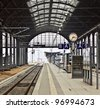 classicistical railway station - stock photo