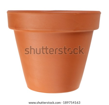 Clay flower pot, isolated on white