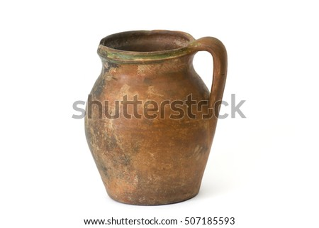 Clay jug, old ceramic vase isolated on white background