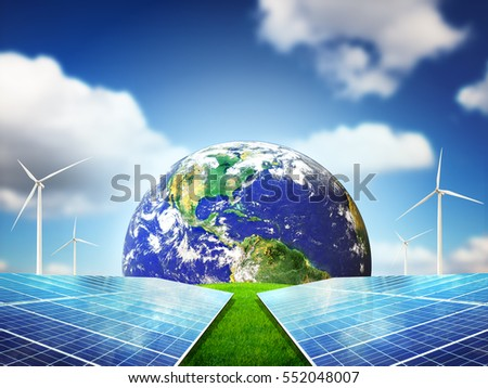 Clean energy concept with beautiful sky. Energy can save the planet. Elements of this Image Furnished By NASA.