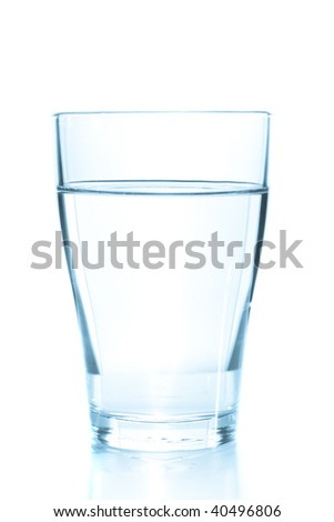 Clean glass of still water on white background