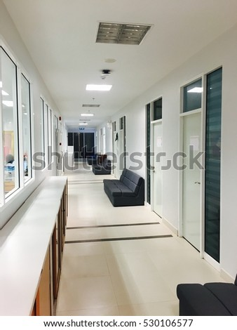 Clean office walkway interior bright