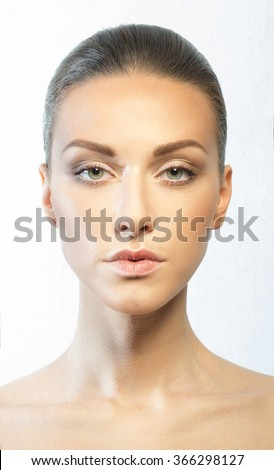 Clean skin of a woman with a European appearance