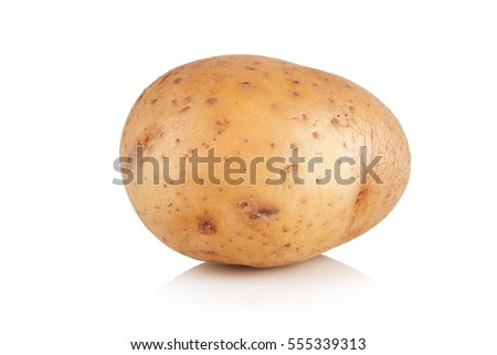 clean the new potatoes on white background