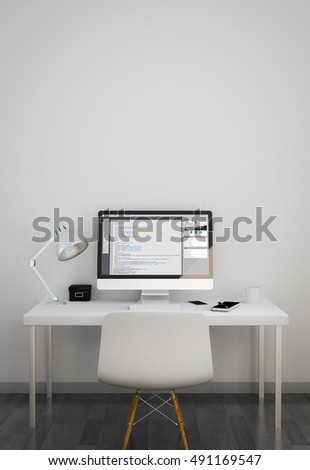 clean workspace with web programming software on screen. 3d rendering