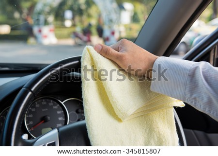 closeup hand washing car interior stock photo 172034597. Black Bedroom Furniture Sets. Home Design Ideas