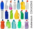 cleaning equipment isolated on white background. 18 colored plastic bottles with Detergent isolated on white background . Studio shooting. Set. - stock photo