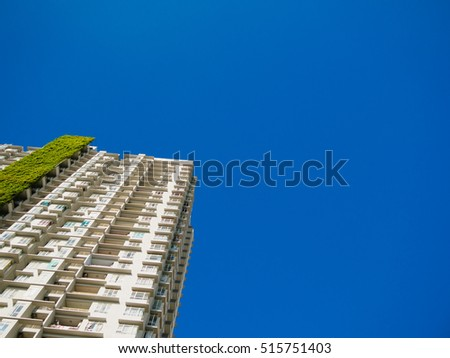 clear blue sky with a part of building