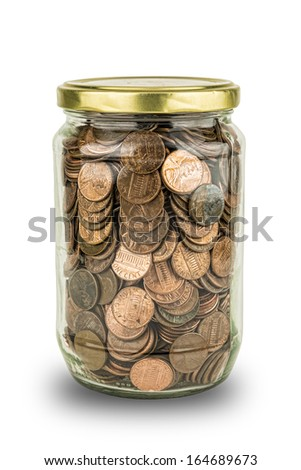 Clear glass full of American Pennies symbolizing economy and savings.