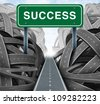 Clear strategy and financial planning road with a green highway sign and the word success as a business concept of winning solutions cutting through adversity as tangled paths of confusion and chaos. - stock vector