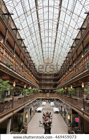 CLEVELAND, USA - JUNE 29, 2013: Architecture of The Arcade in Cleveland. The Victorian-era structure is a U.S. National Historic Landmark.