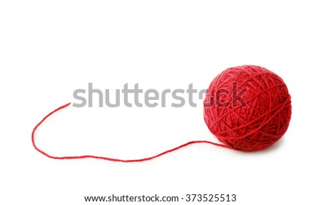 Clew of red wool thread isolated on white background